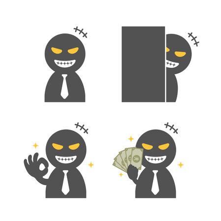 Vector illustration set of cheater ( scammer , stalker, swindler )