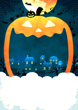 Halloween background vector illustration. Poster (flyer) template design (text space) 向量圖像