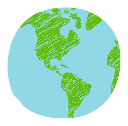 Chalked vector grunge earth (world map, globe)  illustration 向量圖像