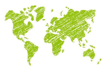 Chalked vector grunge world map illustration 向量圖像