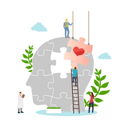 Mental health concept flat vector illustration 向量圖像
