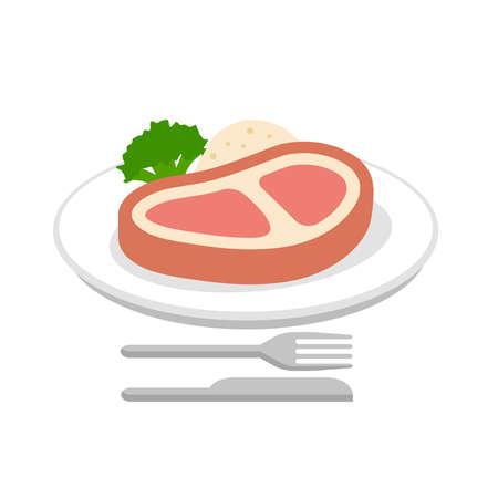 Steak, beef, dinner vector  icon illustration Ilustrace