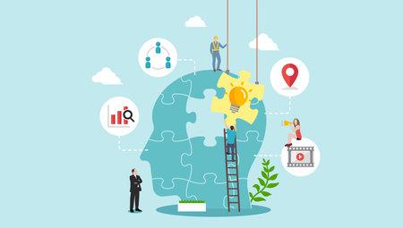 Business concept ( new idea, imagination, inspiration ) vector banner illustration