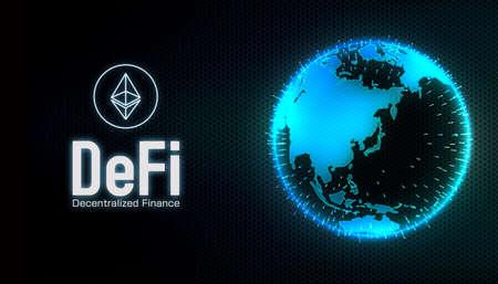 DeFi (Decentralized Finance) concept banner illustration Banco de Imagens