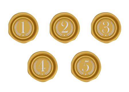 Sealing wax stamp vector illustration set ( number, ranking ) from 1st to 5th (gold) Vektoros illusztráció