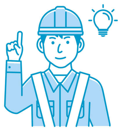 Male blue collar worker gesture illustration   inspiration, idea, solution