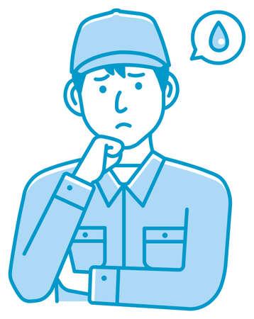Male blue collar worker gesture illustration   upset, unhappy