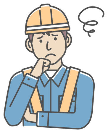 Male blue collar worker gesture illustration   thinking, worried, trouble 向量圖像