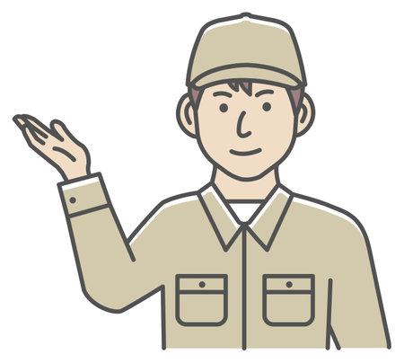 Male blue collar worker gesture illustration   navigate, recommend