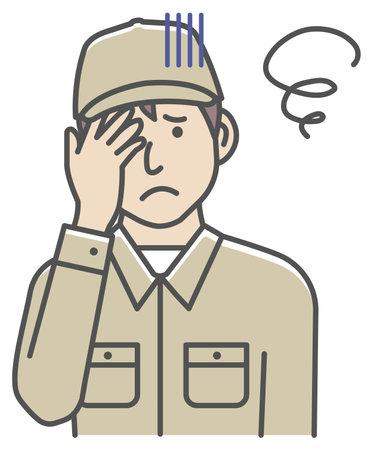 Male blue collar worker gesture illustration   trouble, depression