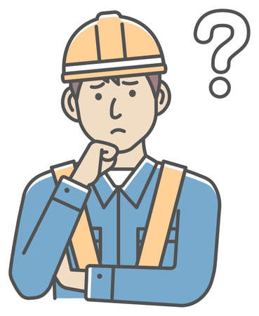 Male blue collar worker gesture illustration   thinking, question, confusion 向量圖像