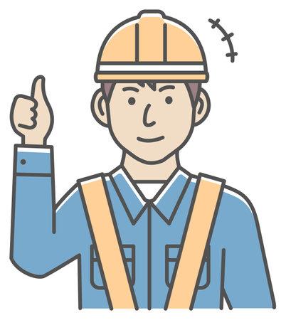Male blue collar worker gesture illustration   thumb up, OK 向量圖像