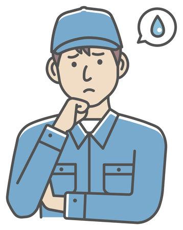 Male blue collar worker gesture illustration | upset, unhappy