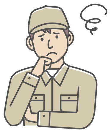 Male blue collar worker gesture illustration | thinking, worried, trouble 向量圖像