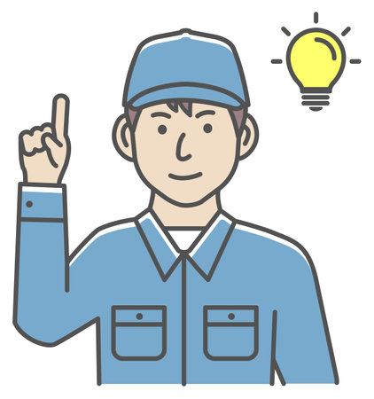 Male blue collar worker gesture illustration | inspiration, idea, solution