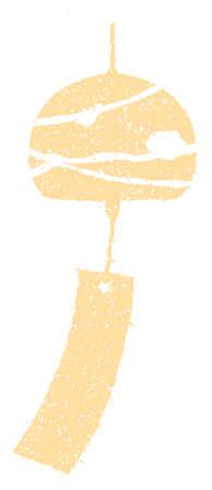 Summer motif rubber stamp illustration for summer greeting card etc.   wind bell 向量圖像