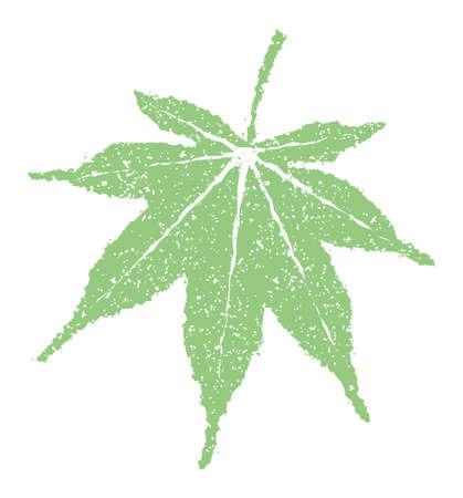 Summer motif rubber stamp illustration for summer greeting card etc.   maple leaf