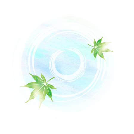Summer motif watercolor painting illustration for summer greeting card etc.   Pond and maple leaves