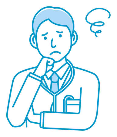 Young male doctor gesture variation illustration   thinking, worried, trouble 向量圖像