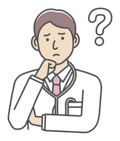 Young male doctor gesture variation illustration   thinking, question, confusion