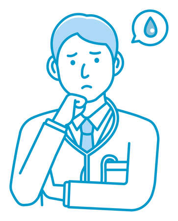 Young male doctor gesture variation illustration   upset, unhappy