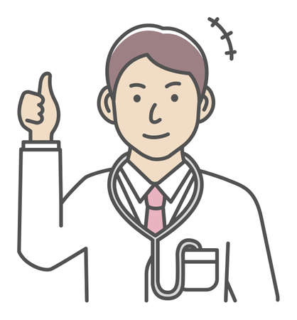 Young male doctor gesture variation illustration   thumb up, OK