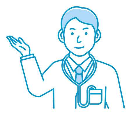 Young male doctor gesture variation illustration   navigate, recommend