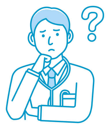 Young male doctor gesture variation illustration | thinking, question, confusion