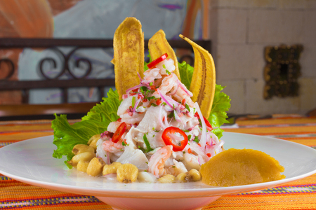 Traditional Peruvian Ceviche  with onions, pepper and banana snack