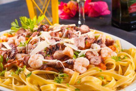 fettuccine: Sea food Pasta with fettuccine, shrimp and herbs