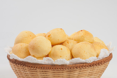 white cheese: Traditional brazilian cheese bread on withe background