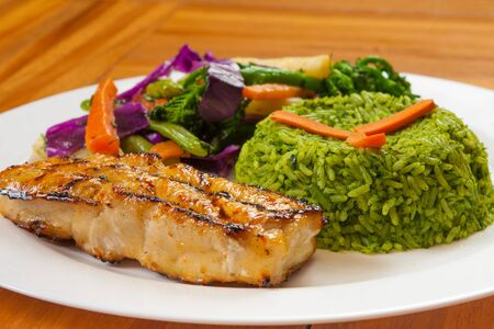 brocolli: Grilled Fish Fillet  with brocolli rice and vegetables Stock Photo