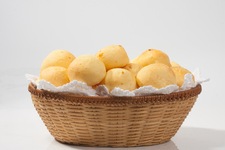 Traditional brazilian cheese bread on withe background
