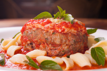 pasta sauce: Meet Loaf Ball with cheese, pasta and tomato sauce Stock Photo
