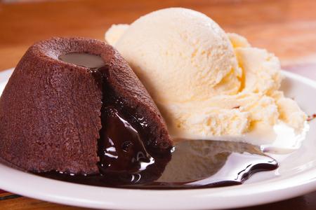 gateau: Chocolate Peiti Gateau with chocolate sauce and vanilla ice cream