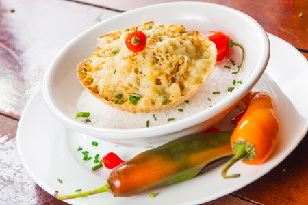 crab meat: Crab meat with cheese with chive and dedo de moca pepper