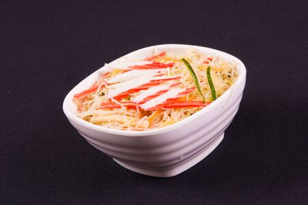 bo: Bifum. Rice pasta with kani and slices of vegetables Stock Photo