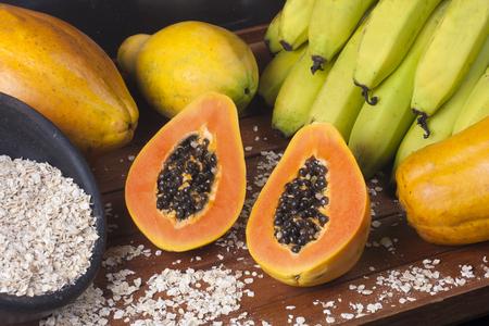 Tropical Fresh Fruits. Papaya, Banana and Oat