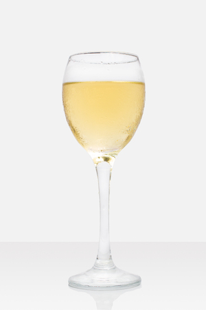 chardonnay: Sauvignon Blnc. Chardonnay. Wine Glass on White Background Stock Photo