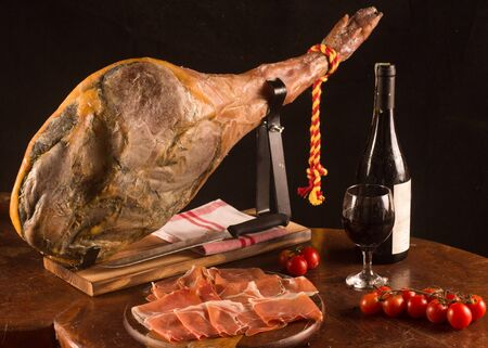 Traditional Spanish Jamon Leg and special knife