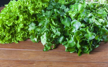 berro: Ensalada fresca verde con Lechuga, berros y cilantro Foto de archivo