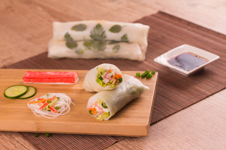 Traditional Japonese Vegetable Springroll over a wooden table