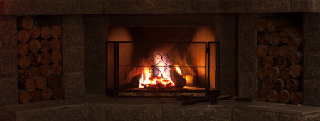 Protection screen fireplace with burning flame