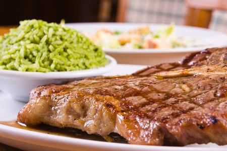 brocolli: Grilled Pork Fillet with brocolli rice Stock Photo