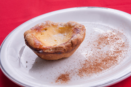 belem: Traditional Portuguese Belem Pastry with cinnamon Stock Photo