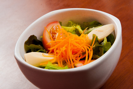 palmetto: Fresh Tropical Salad with carrots, palmetto and tomato