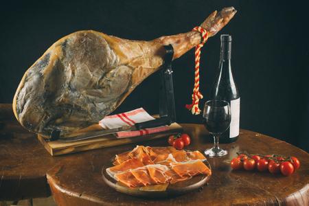 Spanish Jamon Serrano. Slices of Parma Ham