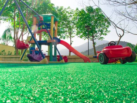 Green Artifical Grass in Hotel Kid Playground Stock Photo