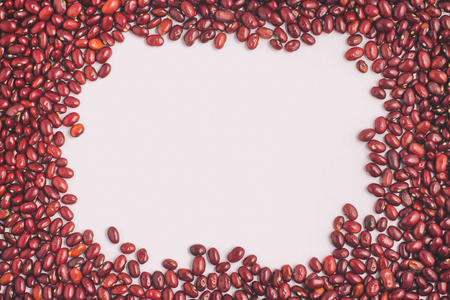 Brazilian Red Beans frame in white background. Phaseolus vulgaris