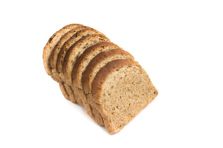 integral: Integral Bread. Brown Bread in white background Stock Photo
